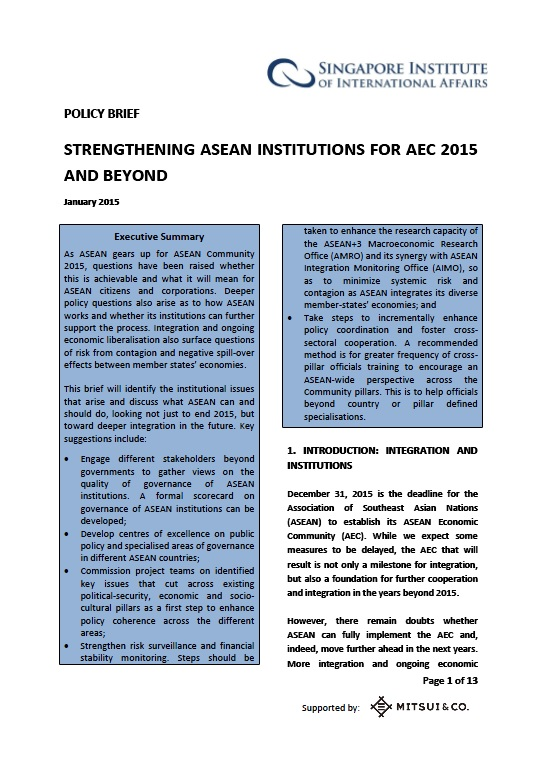 Singapore Institute of International Affairs | Reports and Briefs